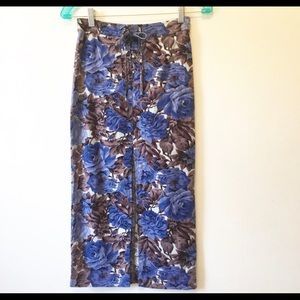 Urban Outfitters Blue Floral Lace Up Midi Skirt